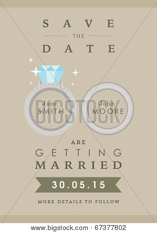 Save the date invitation wedding ring themes