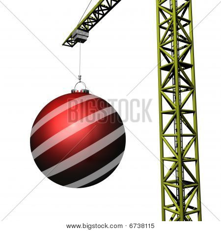 Crane Holding Christmas Bauble