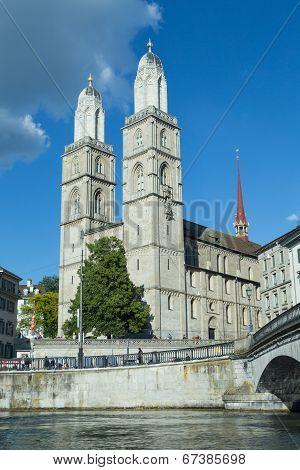 Grossmünster Church In Zurich, Switzerland