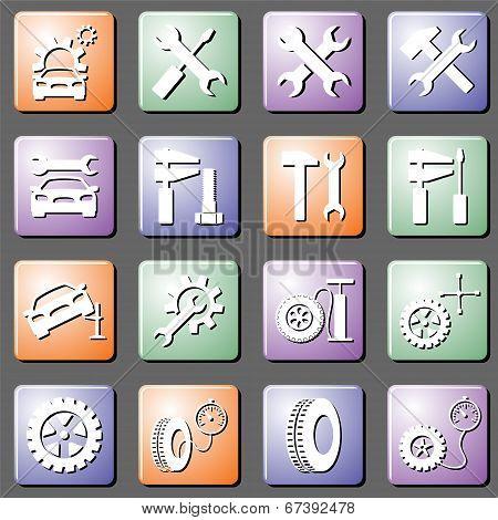 Car Service Set Vector Icons