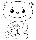 Cartoon teddy bear sits with a celebratory gift box in paws, black contours isolated on white background. Vector poster