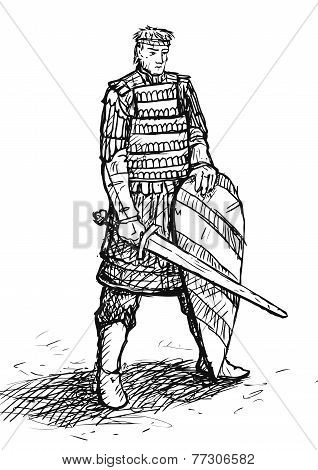 Russian warrior in armor with sword and shield poster