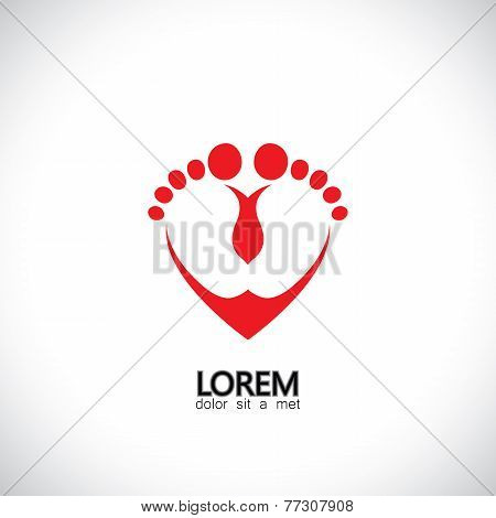 Child Or Baby Feet In Love Symbol - Concept Vector Graphic