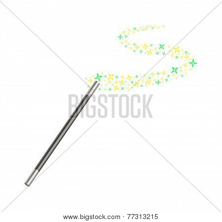 Magic wand with stream of stars