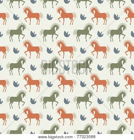 Vector Horse Seamless Pattern Background