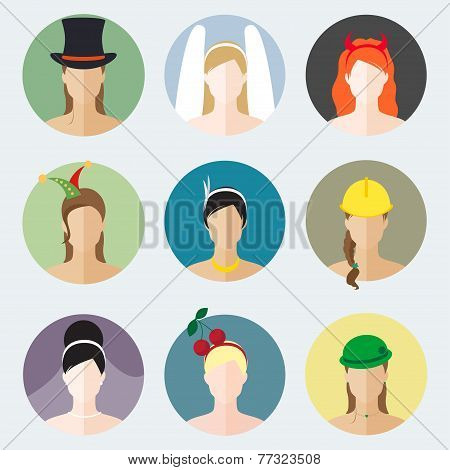 Abstract Flat Girls Icons Vector Set For Use In Design For Profile Page Or Avatar