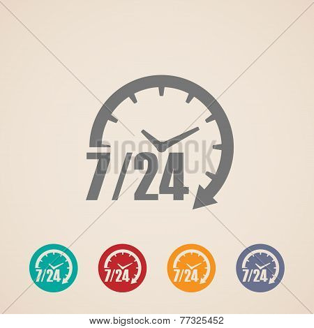 open 24 hours a day and 7 days week icons