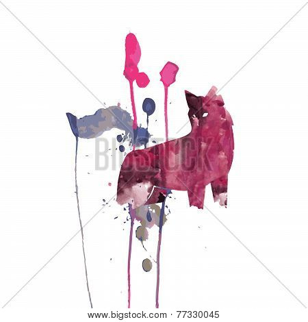 Watercolor Wolf Vector Drawing