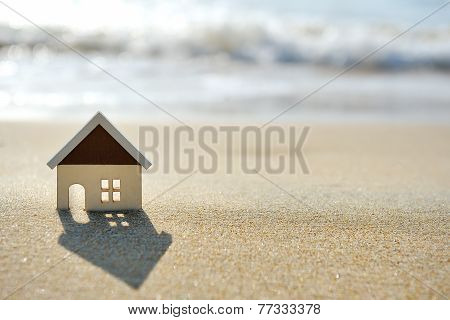 House On The Sand Beach Near Sea