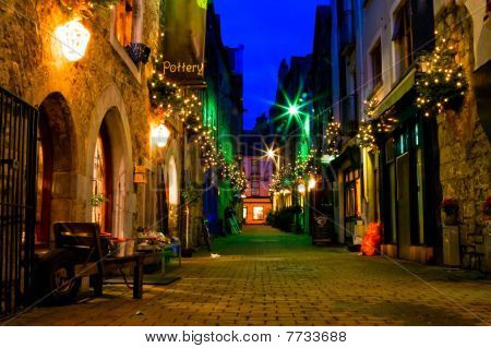 Old Galway City Street At Night