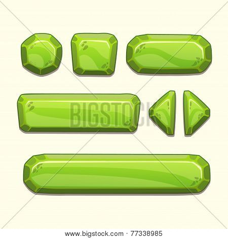 Set of cartoon stone buttons
