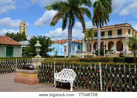 Formal gardens in Plaza Mayor, Trinidad de Cuba, Cuba