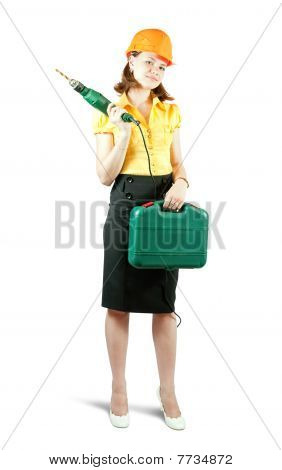 Girl In Hard Hat With Tool Box