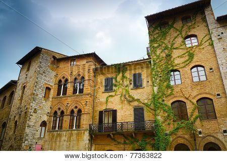 San Gimignano Historical Buildings Close