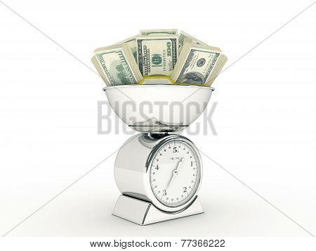Kitchen scale with dollar money