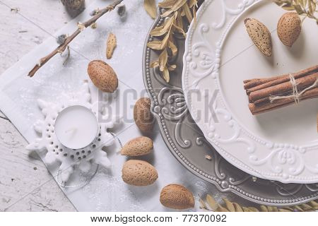 Christmas Decoration Table Servise With Almonds, Cutlery And Other Details