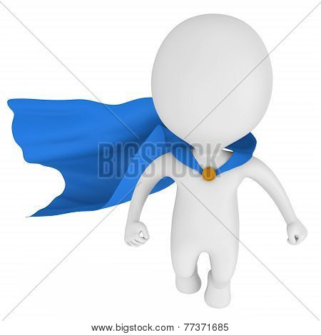 3D Brave Superhero With Blue Cloak
