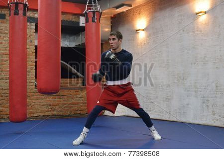 NOVOSIBIRSK, RUSSIA - NOVEMBER 26, 2014: European champion Armen Zakaryan on the open training during AIBA Pro Boxing international tournament. The winners will go to the Olympics-2016