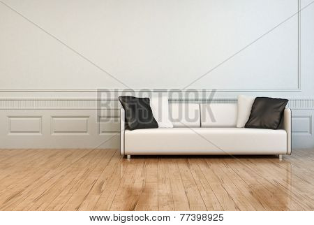 3D Rendering of White Elegant Couch with White and Gray Pillows in an Empty Architectural Room with White Wall and Wooden Flooring.