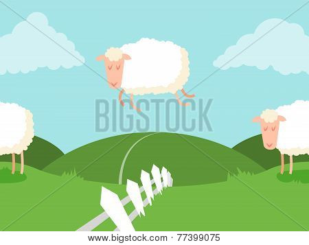 Tileable sheep jumping over the fence.