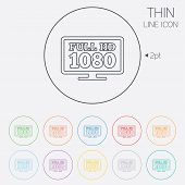 Full hd widescreen tv sign icon. 1080p symbol. Thin line circle web icons with outline. Vector poster