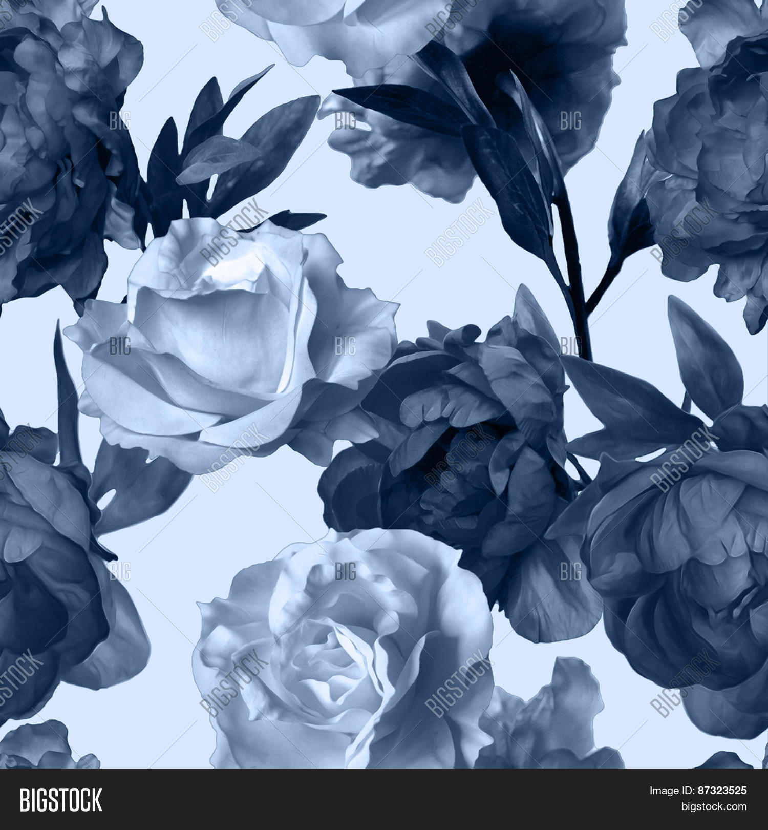 Art vintage monochrome watercolor floral seamless pattern with dark grey blue peonies and white roses isolated