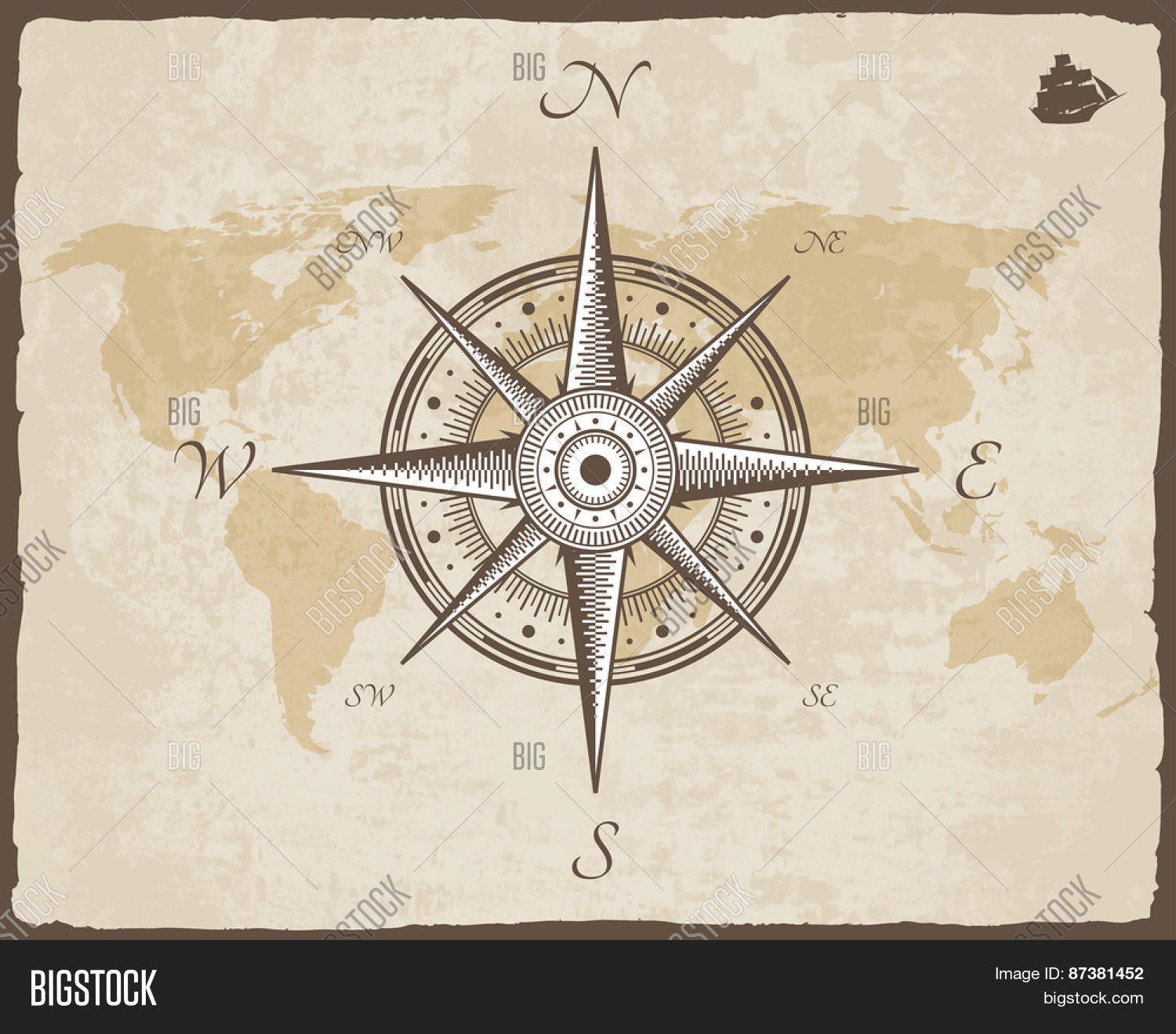 Vintage nautical compass old map vector photo bigstock old map vector paper texture with torn border frame wind rose sciox Gallery