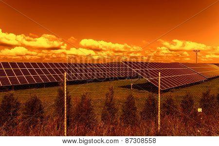 Solar energy panels in the sunset