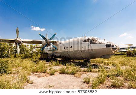 Turboprop Aircraft An-12 At An Abandoned Aerodrome In Samara, Russia