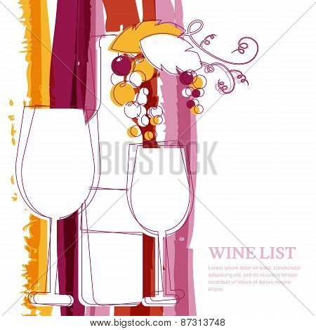 Wine Bottle, Glass, Branch Of Grape And Marsala Stripes Watercolor Background With Place For Text. A