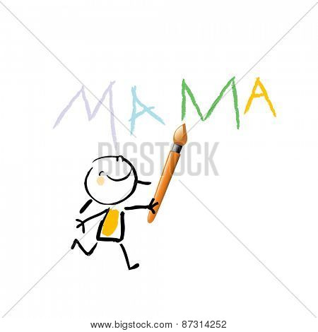 Little girl, kid writing mama with colorful letters. Painting kid. Vector sketchy illustration, doodle style.