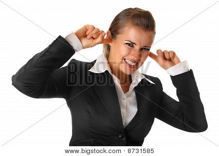 modern business woman closing ears with fingers isolated on white