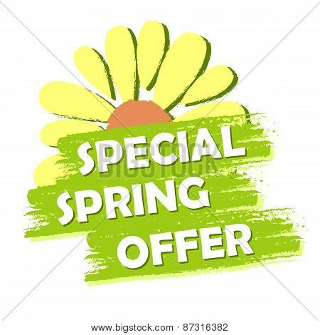 special spring sale banner - text and flower symbol in green drawn label business shopping seasonal concept poster