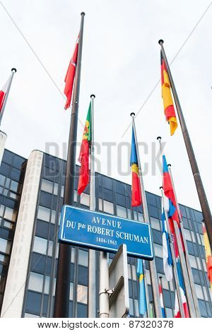 Exterior Of Council Of Europe With All European Union Member Flag On Avenue Schumann
