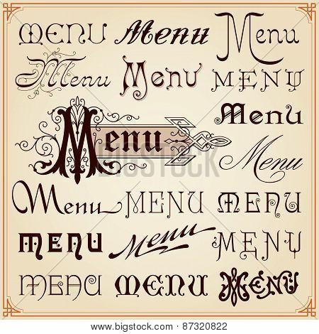 Menu Vintage Calligraphic Letterings Texts