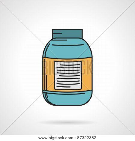 Creatine jar flat vector icon