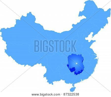 Map Of People's Republic Of China - Hunan Province