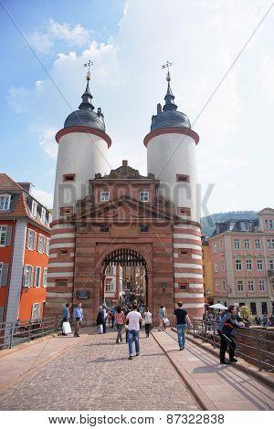 Bridge Gate Over The River In Summer Heidelberg