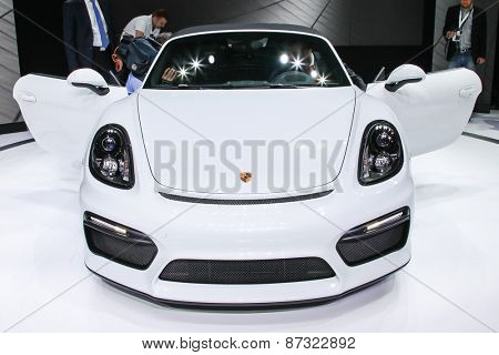 NEW YORK - APRIL 1: Porsche exhibit Porsche Baxster Spyder at the 2015 New York International Auto Show during Press day,  public show is running from April 3-12, 2015 in New York, NY.