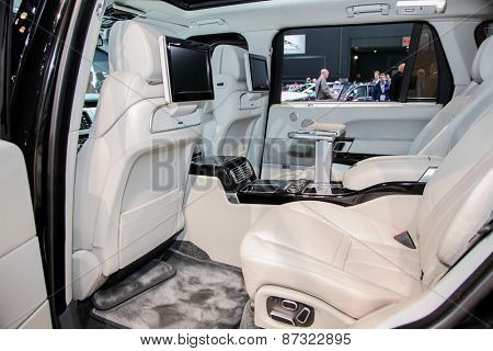 NEW YORK - APRIL 1: Land Rover exhibit Range Rover at the 2015 New York International Auto Show during Press day,  public show is running from April 3-12, 2015 in New York, NY.