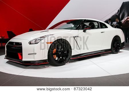 NEW YORK - APRIL 1: Nissan exhibit  Nissan GT-R Nismo at the 2015 New York International Auto Show during Press day,  public show is running from April 3-12, 2015 in New York, NY.