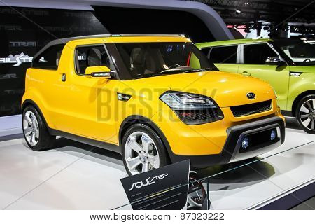 NEW YORK - APRIL 1: KIA exhibit KIA Soul Ter at the 2015 New York International Auto Show during Press day,  public show is running from April 3-12, 2015 in New York, NY.