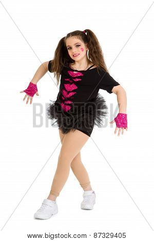 Hip Hop Dancer Child In Pigtails
