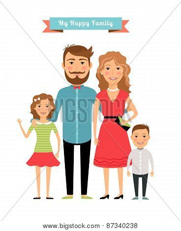 Happy family. Parents and kids