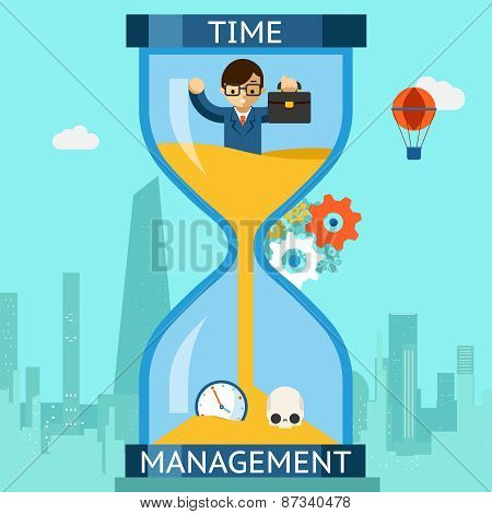 Time management. Businessman sinking in hourglass