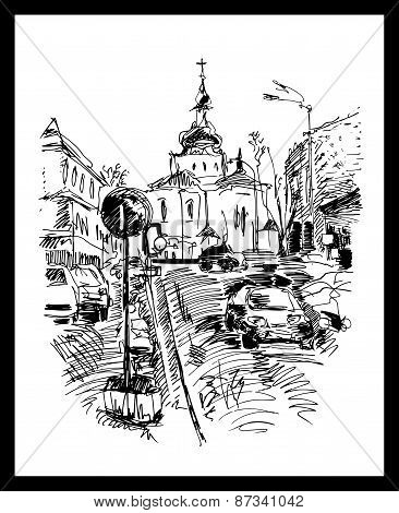 drawing of Kyiv street, Podol, Ukraine
