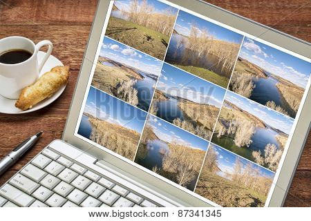 Reviewing and editing a sequence of time lapse aerial pictures on a laptop - lake landscape in Colorado with a drone shadow. All screen images copyright by the photographer.