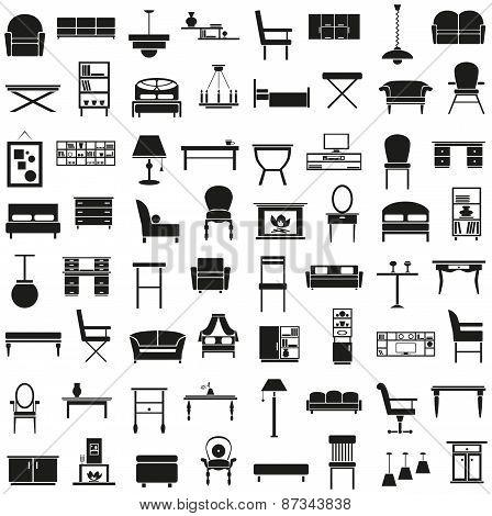 Furniture Icons On White