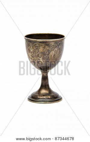 Antique Silver Glass Of Wine With Engraving Isolated