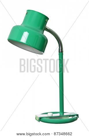 Old green lamp isolated on a white background